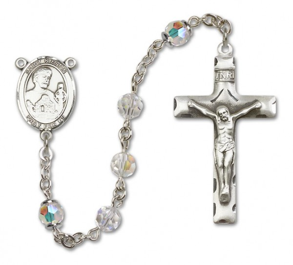 St. Kieran Sterling Silver Heirloom Rosary Squared Crucifix - Crystal