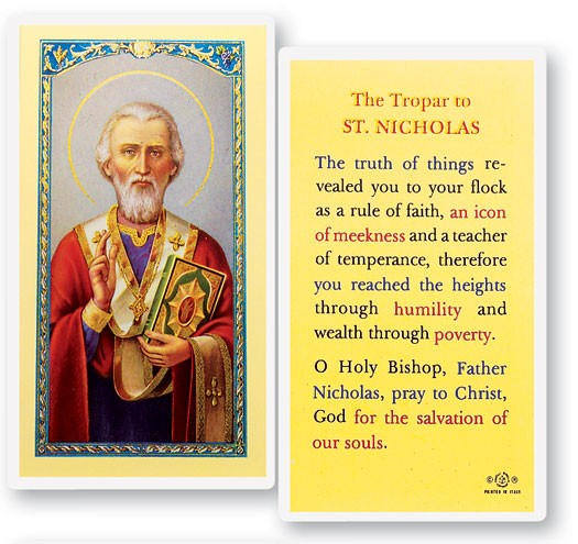 St. Nicholas Laminated Prayer Cards 25 Pack - Full Color