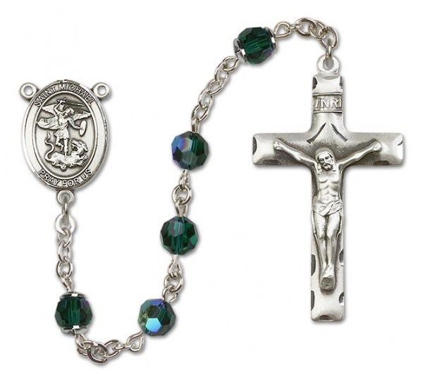 St. Michael the Archangel Sterling Silver Heirloom Rosary Squared Crucifix - Emerald Green