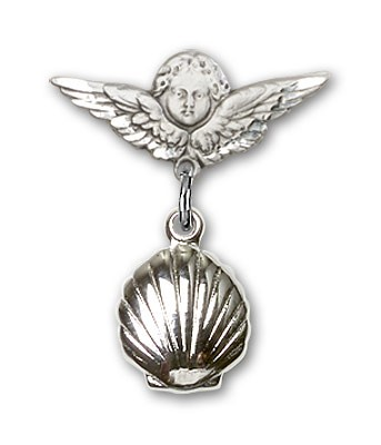 Baby Pin with Shell Charm and Angel with Smaller Wings Badge Pin - Silver tone