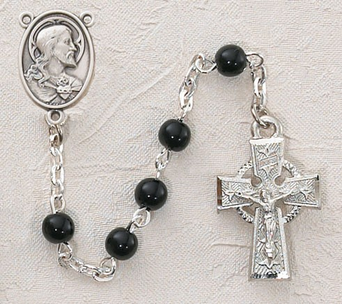 Irish First Communion Sacred Heart Rosary - Rhodium - Black