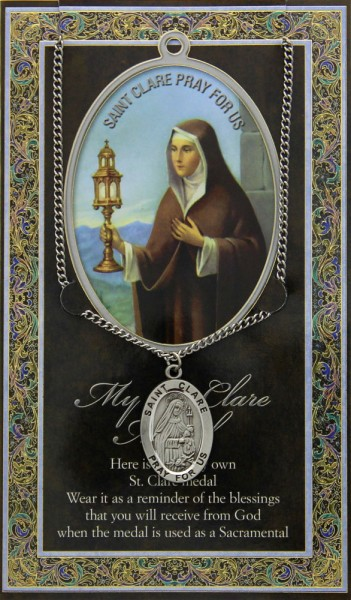 St. Clare Medal in Pewter with Bi-Fold Prayer Card - Silver tone