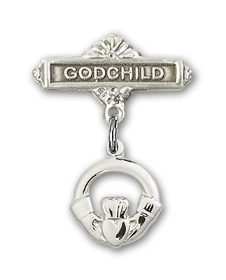 Baby Badge with Claddagh Charm and Godchild Badge Pin - Silver tone
