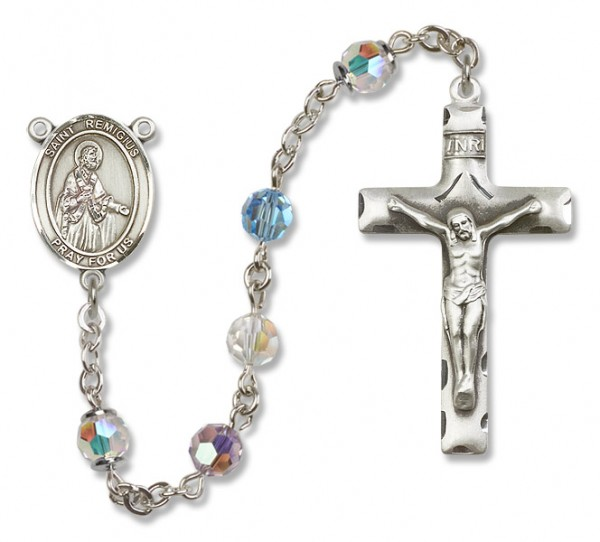 St. Remigius Sterling Silver Heirloom Rosary Squared Crucifix - Multi-Color