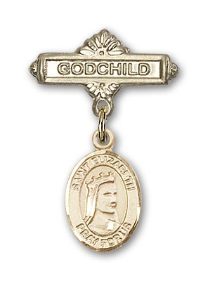Pin Badge with St. Elizabeth of Hungary Charm and Godchild Badge Pin - 14K Solid Gold