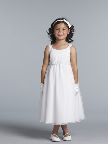 First Communion Dress with Hand Beaded Waist and Shoulders - White