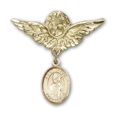 Pin Badge with St. Dennis Charm and Angel with Larger Wings Badge Pin - 14K Yellow Gold