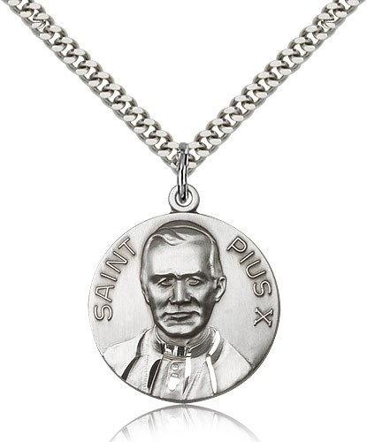 Men's Saint Pius X Medal - Sterling Silver