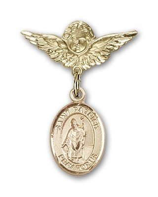 Pin Badge with St. Patrick Charm and Angel with Smaller Wings Badge Pin - 14K Solid Gold