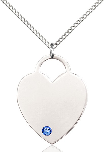 Large Women's Heart Pendant with Birthstone Options - Sapphire