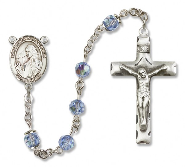 St. Finnian of Clonard Sterling Silver Heirloom Rosary Squared Crucifix - Light Sapphire