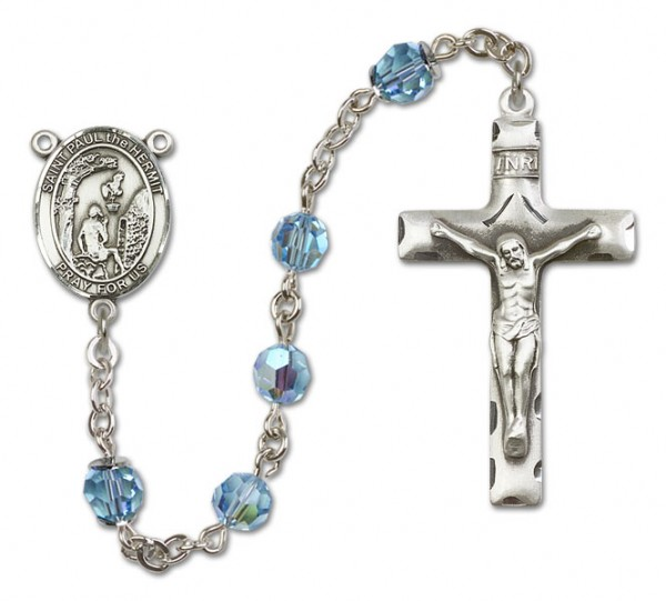 Paul the Hermit Sterling Silver Heirloom Rosary Squared Crucifix - Aqua
