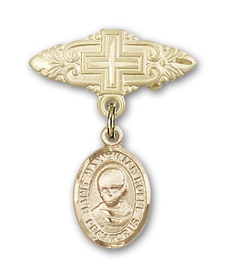 Pin Badge with St. Maximilian Kolbe Charm and Badge Pin with Cross - Gold Tone