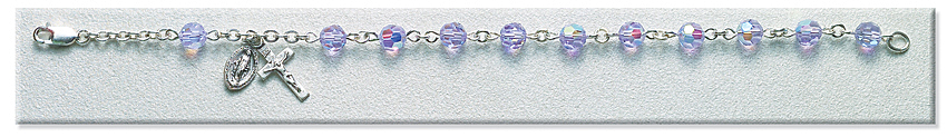 Rosary Bracelet - Sterling Silver with 6mm Violet Crystal Swarovski Beads - Purple