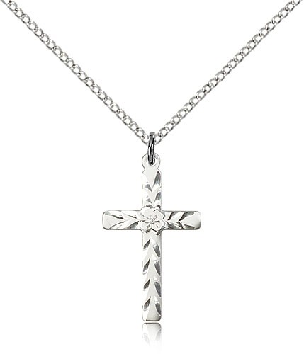 Women's Textured Etched Cross Necklace - Sterling Silver