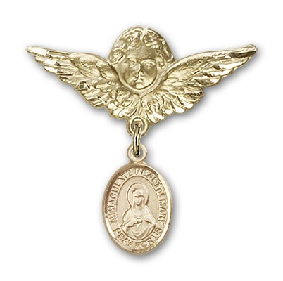 Pin Badge with Immaculate Heart of Mary Charm and Angel with Larger Wings Badge Pin - Gold Tone