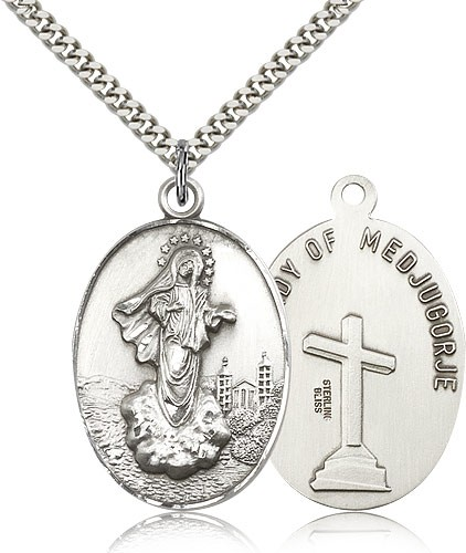 Large Our Lady of Medugorje Medal - Sterling Silver