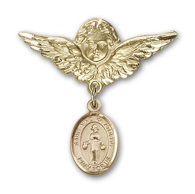Pin Badge with St. Nino de Atocha Charm and Angel with Larger Wings Badge Pin - 14K Yellow Gold