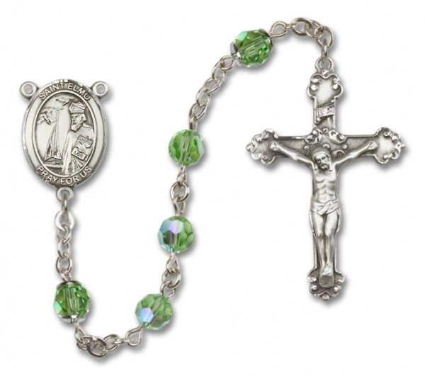 St. Elmo Sterling Silver Heirloom Rosary Fancy Crucifix - Peridot