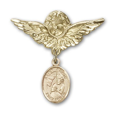Pin Badge with St. Edwin Charm and Angel with Larger Wings Badge Pin - 14K Solid Gold
