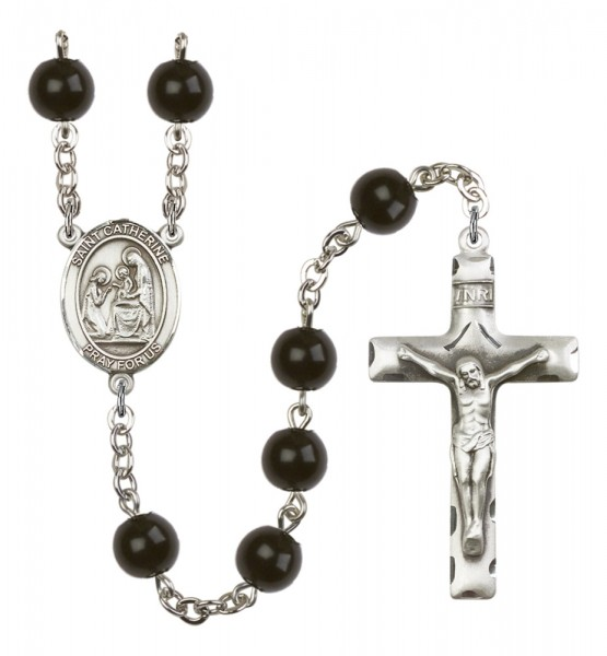 Men's St. Catherine of Siena Silver Plated Rosary - Black