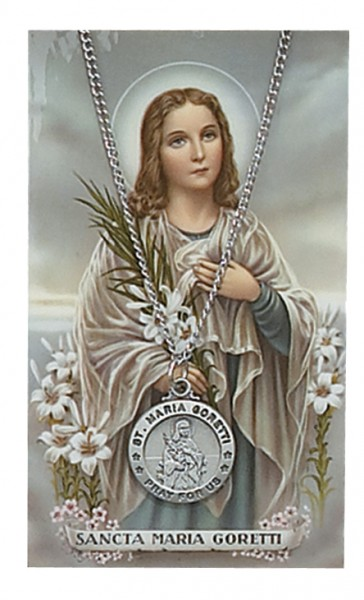 Round St. Maria Goretti Medal with Prayer Card - Silver tone