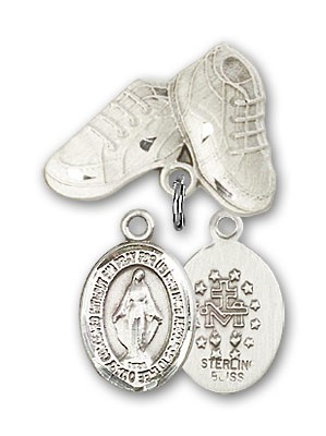 Baby Badge with Miraculous Charm and Baby Boots Pin - Silver tone