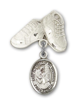 Pin Badge with St. Elizabeth of the Visitation Charm and Baby Boots Pin - Silver tone