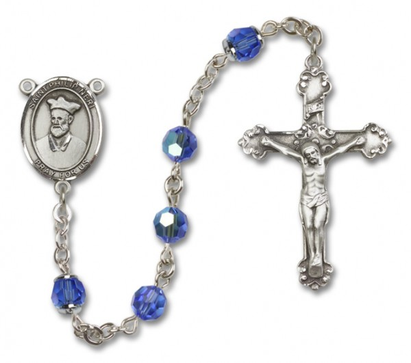 St. Philip Neri Sterling Silver Heirloom Rosary Fancy Crucifix - Sapphire