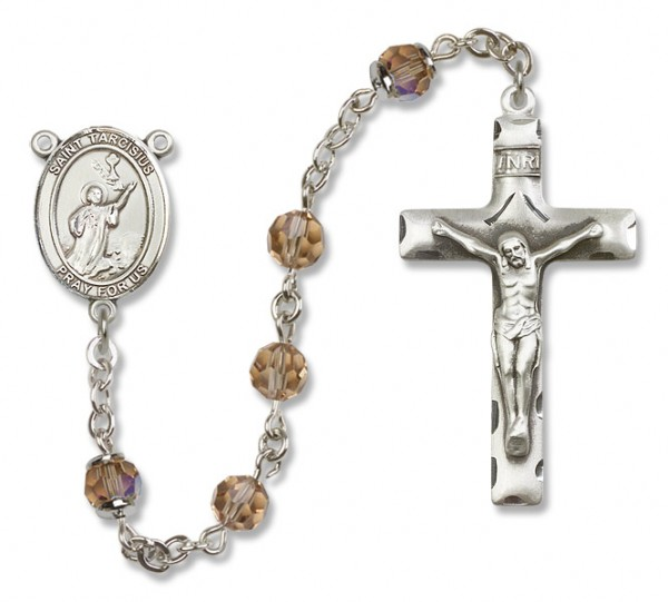 St. Tarcisius Sterling Silver Heirloom Rosary Squared Crucifix - Topaz