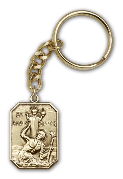 St. Christopher Keychain - Antique Gold