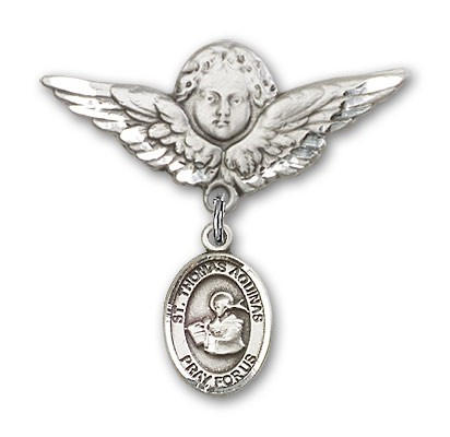 Pin Badge with St. Thomas Aquinas Charm and Angel with Larger Wings Badge Pin - Silver tone