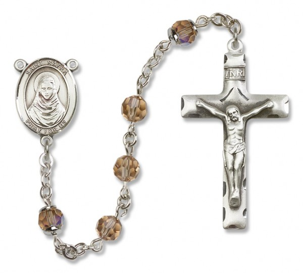St. Rafka Sterling Silver Heirloom Rosary Squared Crucifix - Topaz
