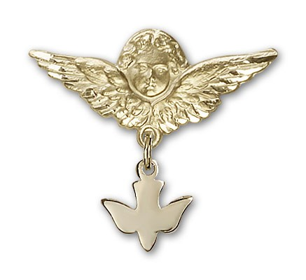 Baby Pin with Holy Spirit Charm and Angel with Larger Wings Badge Pin - 14K Yellow Gold