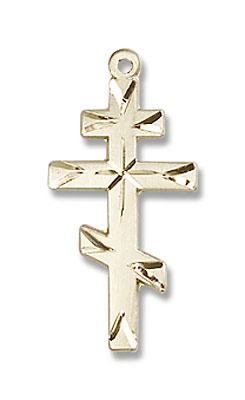 Faceted Saint Andrew's Cross - 14K Yellow Gold