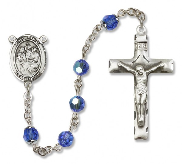 Holy Family Rosary Heirloom Squared Crucifix - Sapphire