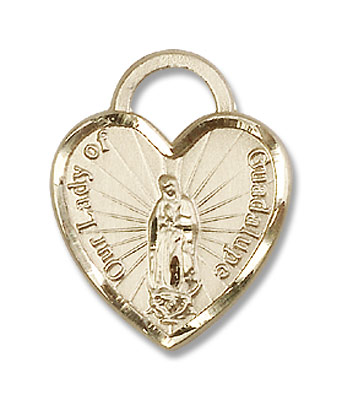 Our Lady of Guadalupe Heart Shaped Quinceañera Medal - 14KT Gold Filled