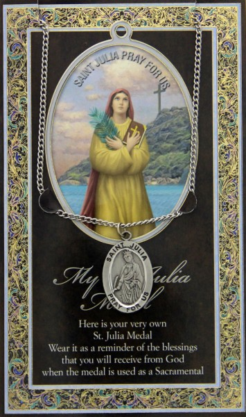 St. Julia Medal in Pewter with Bi-Fold Prayer Card - Silver tone