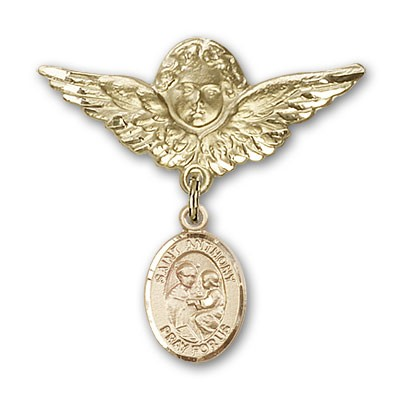Pin Badge with St. Anthony of Padua Charm and Angel with Larger Wings Badge Pin - 14K Yellow Gold