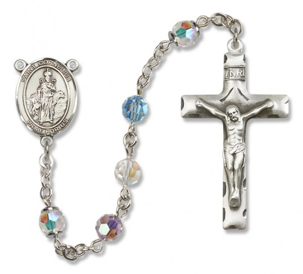 St. Cornelius Sterling Silver Heirloom Rosary Squared Crucifix - Multi-Color