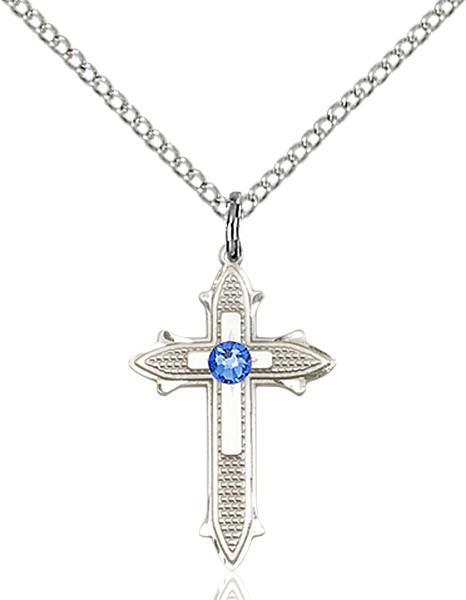 Polished and Textured Cross Pendant with Birthstone Options - Sapphire