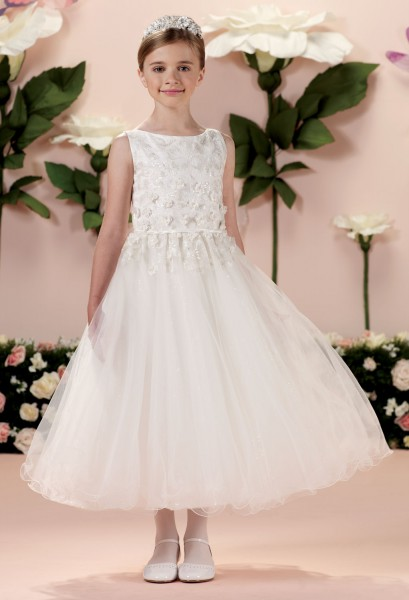 First Communion Dress with Lace Overlay Size 10 - White