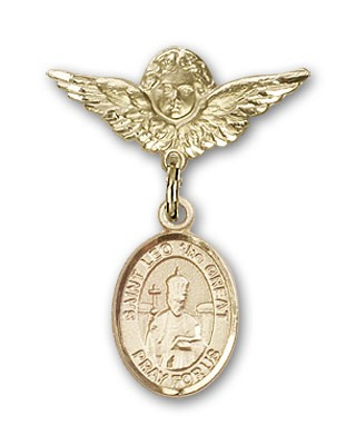 Pin Badge with St. Leo the Great Charm and Angel with Smaller Wings Badge Pin - Gold Tone