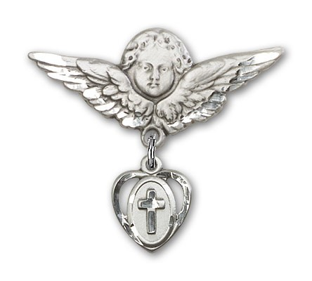 Pin Badge with Cross Charm and Angel with Larger Wings Badge Pin - Silver tone