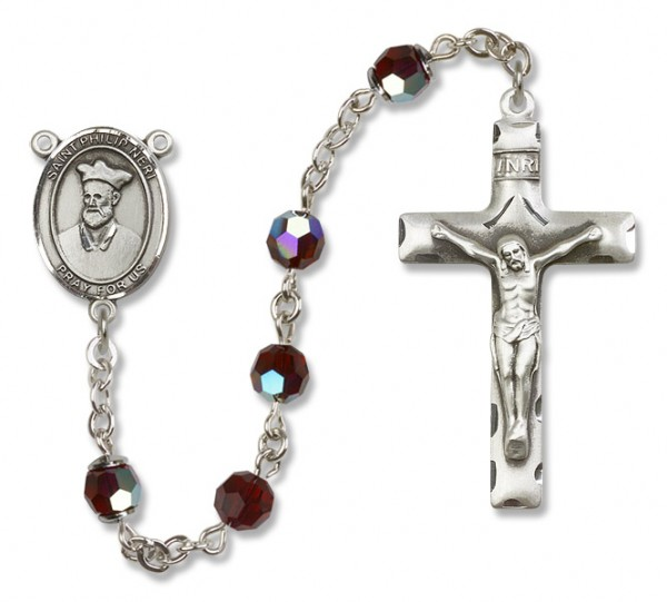 St. Philip Neri Sterling Silver Heirloom Rosary Squared Crucifix - Garnet