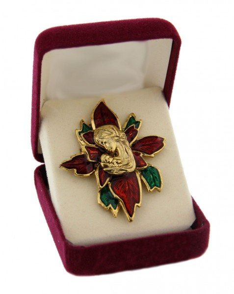 "Poinsettia Christmas Pin, Gold tone with Red & Green Enamel - 2 1/2""H - Gold Tone"