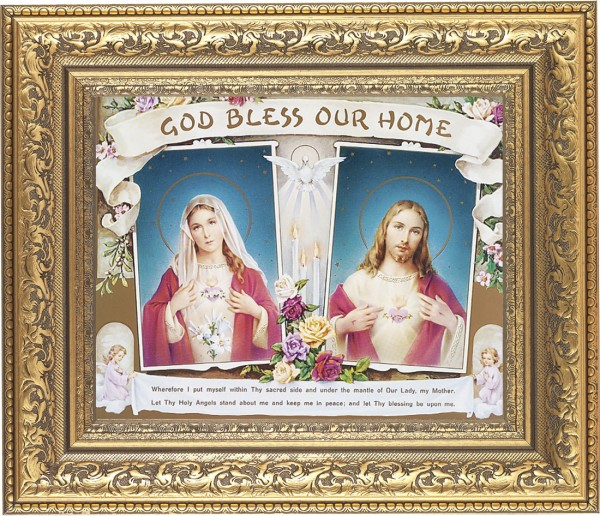 God Bless Our Home Sacred Heart and Immaculate Heart Framed Print - #115 Frame