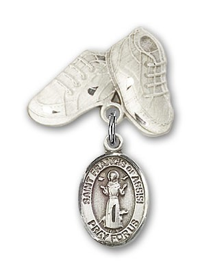 Pin Badge with St. Francis of Assisi Charm and Baby Boots Pin - Silver tone