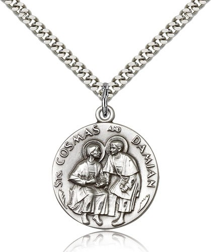 Men's Round Saints Cosmas & Damian Medal - Sterling Silver
