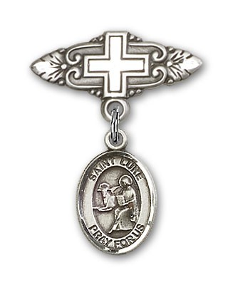 Pin Badge with St. Luke the Apostle Charm and Badge Pin with Cross - Silver tone